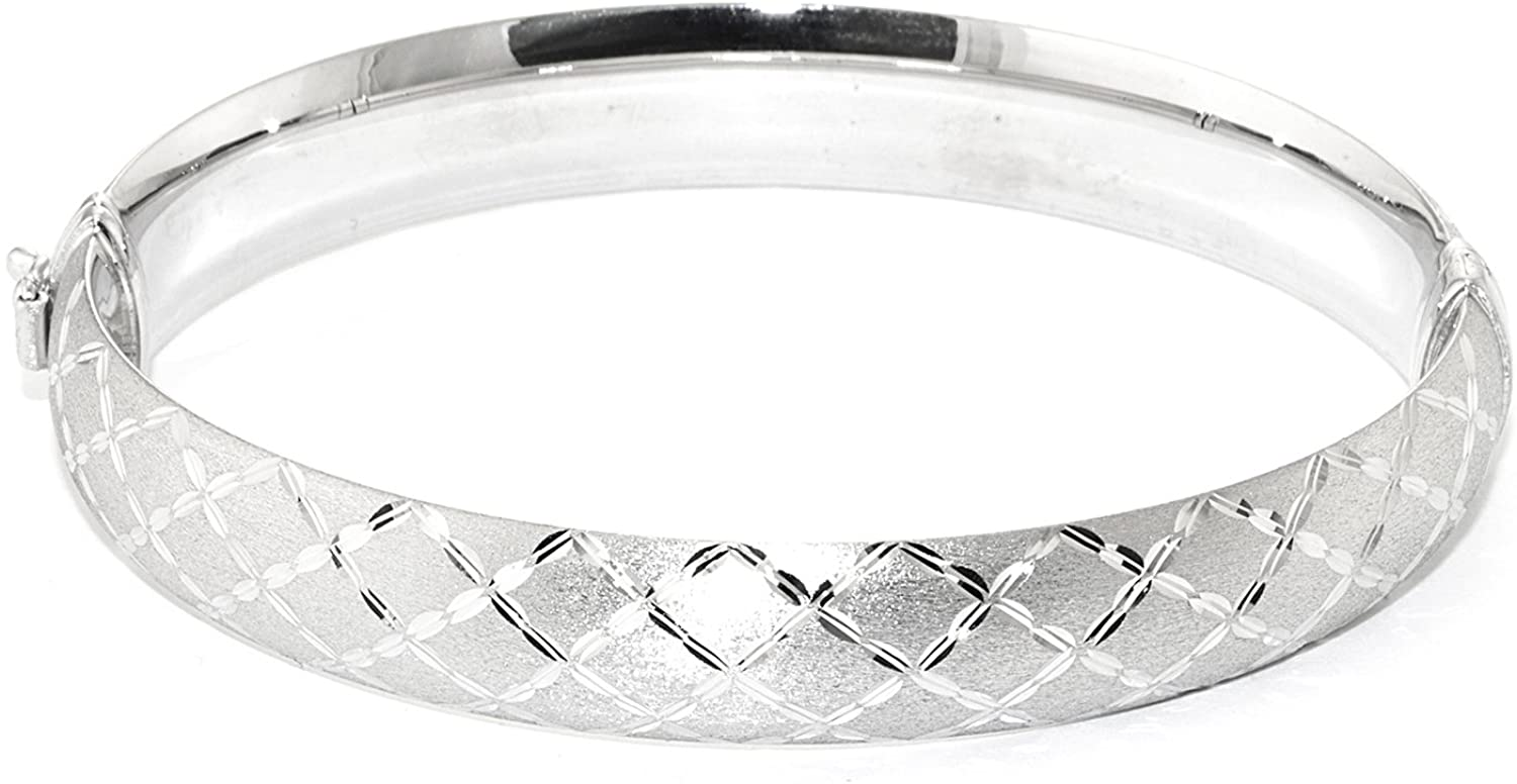 Silver on the Web Sterling Silver Diamond Cut Criss Cross Bangle