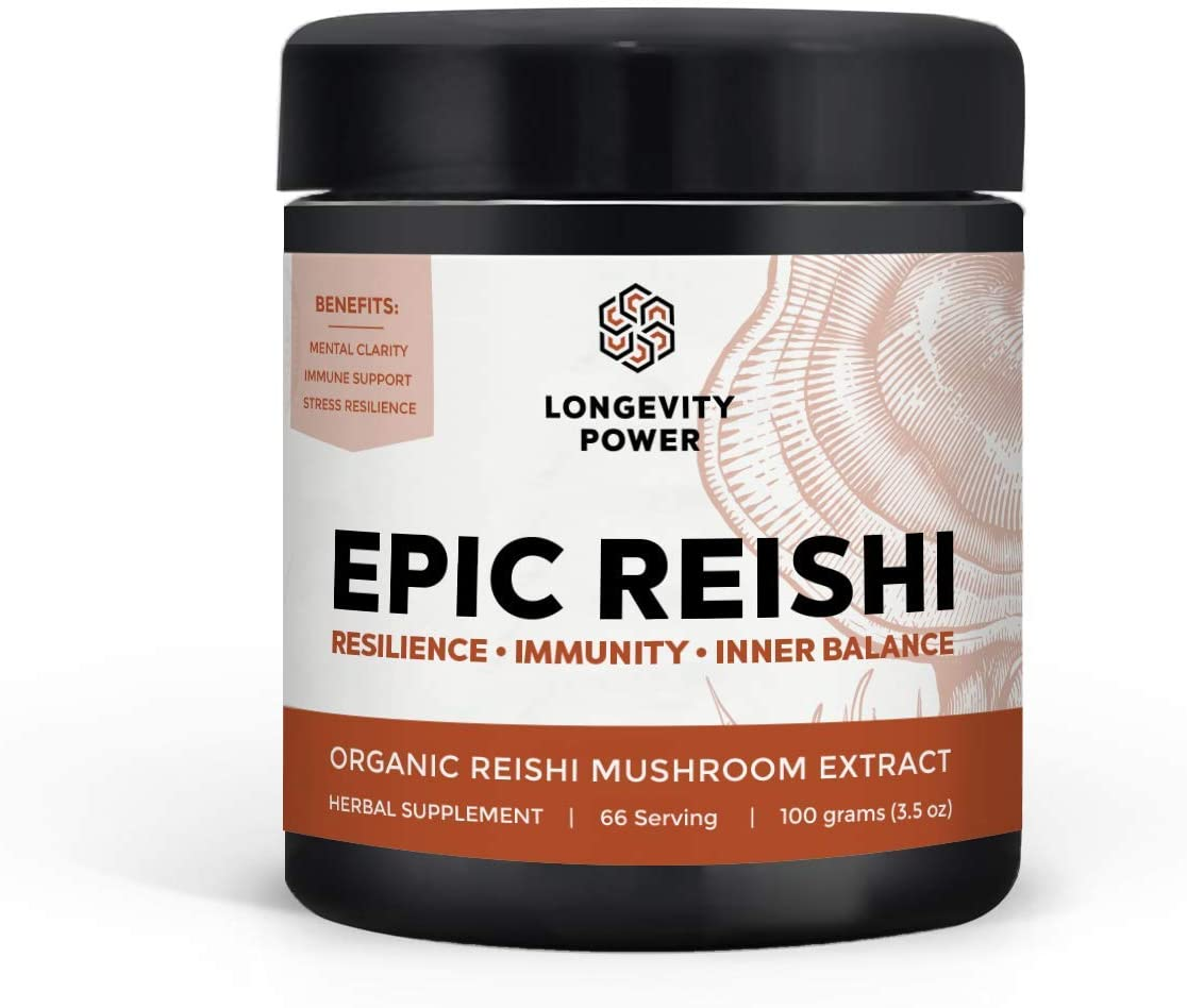 Epic Reishi, 100% Organic Medicinal Mushroom Formula, Stress Resilience, Inner Calm, Immune Support, 66 Servings, 100g (3.5oz)