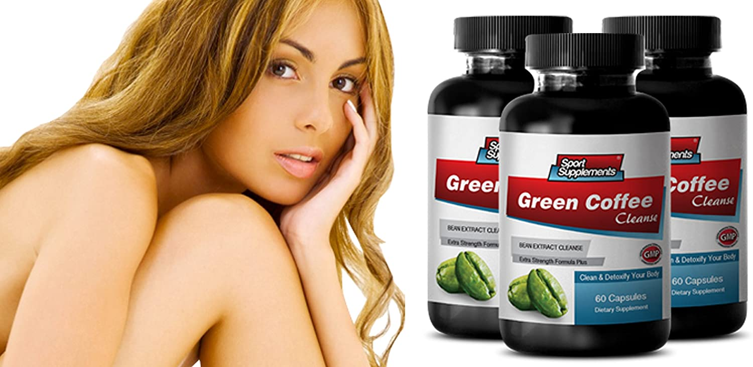 Stomach Cleanser - Green Coffee Cleanse Extract 400 Extra Strength Formula - Green Coffee Absolute Nutrition - 3 Bottles 180 Capsules