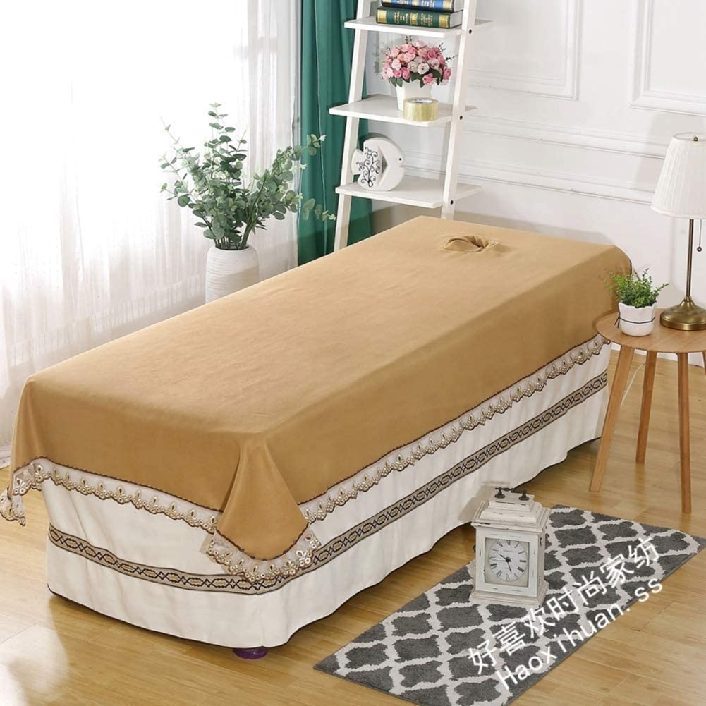 DXTY Beauty Bedsheet with Face Hole Lace Side Beauty Bed Cover Spa Massage Treatment Table Bed Cover Massage Table Sheet All-Round Wrap for Beauty Salon Spa 120x200cm(47x79inch)