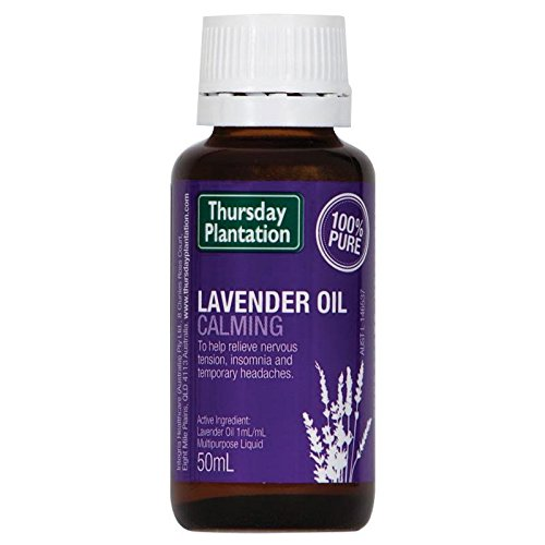 Thursday Plantation Lavender Oil. 100% Pure. Calm, Soothe and Relax the body and mind. Improve Sleep Quality. Relieve nervous tensions. Made in Australia 50 ml