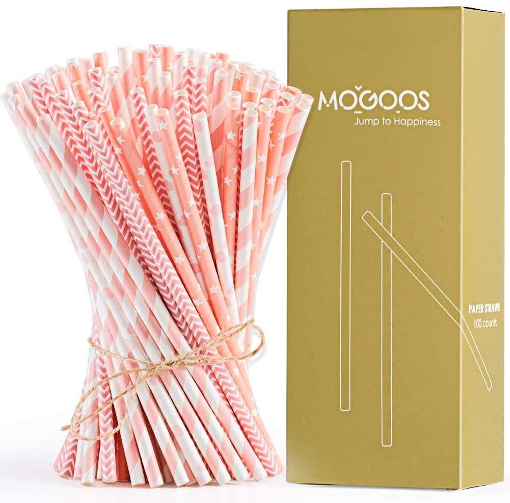 MOGOOS Paper Straws Bulk, Pink White Biodegradable Juice Drinking Straws 7.75 inches for Birthday,Celebrations,Wedding, Bridal/Baby Shower Favors Decorations, Pack of 100