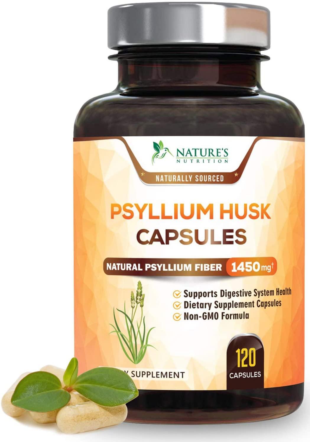 Psyllium Husk Capsules - 725mg per Capsule - Premium Psyllium Fiber Supplement - Made in USA - Natural Soluble Fiber Pills, Helps Support Digestion & Regularity - 120 Capsules