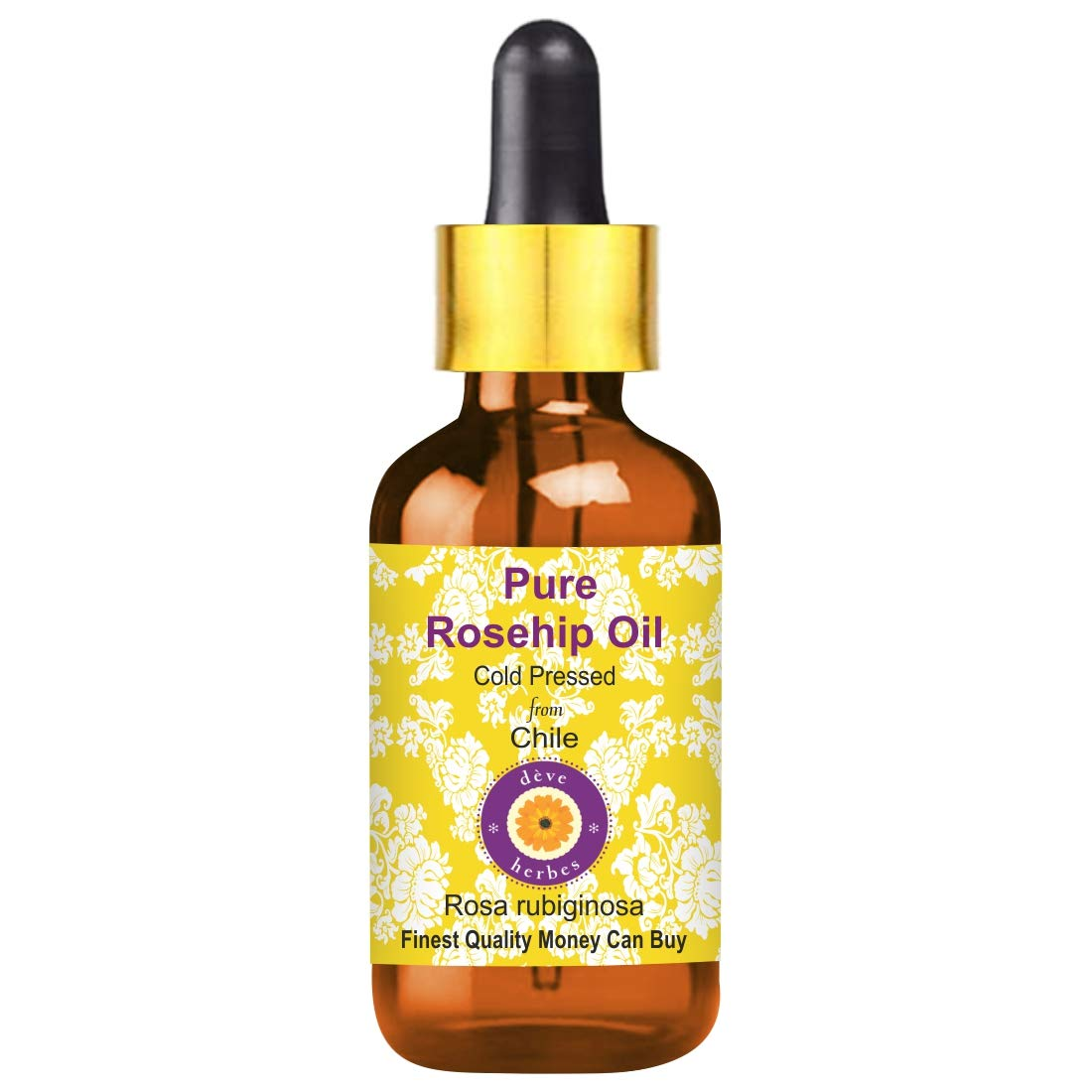 Deve Herbes Pure Rosehip Oil (Rosa rubiginosa) with Glass Dropper 100% Natural Therapeutic Grade Cold Pressed 10ml