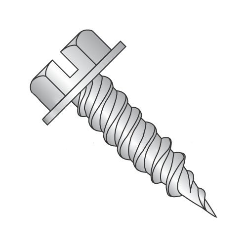 #8 x 1 Self-Piercing Screws/Slotted/Hex Washer Head (1/4 AF) / 410 Stainless Steel (Carton: 2,000 pcs)