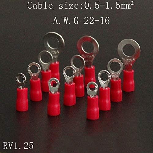 Onvas 50pcs/lot Round pre-insulated ends RVS1.25-3-4S-5S-6-8-10-3.5S-5.5 Cold-pressed terminals 0.5-1.5 square - (Color: RV1.25-10)