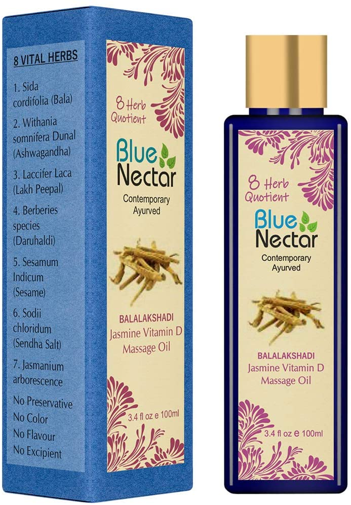 Blue Nectar Sensual Jasmine Body Massage Oil for Relaxing Massage Therapy with Essential Oils 100% Natural Ingredients