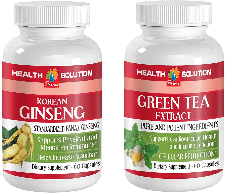 Male Vitamins - Korean Ginseng - Green Tea - Combo - Green Tea Diet Pills - (2 Bottles Combo)
