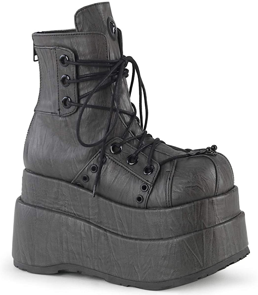 Demonia Womens BEAR-120 Tiered Platform Ankle Boot Black