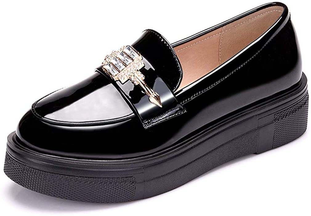 Women Leather Comfort Slip On Oxfords Low Heel Flat Shoes Classic Penny Loafer