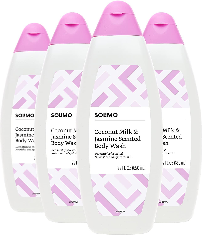 Solimo Moisturizing Coconut Milk and Jasmine Nourishing Body Wash, 22 Fluid Ounce (Pack of 4)
