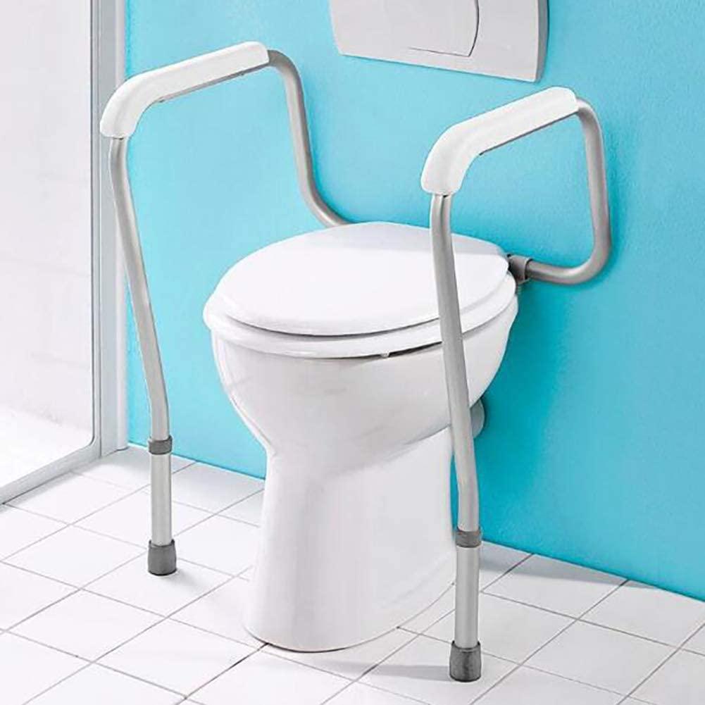 YLEI Free Standing Toilet Frame, Toilet Safety Frame, Adjustable Rail and Grab Bar, Aluminium Toilet Surround Frame, Lightweight Non-Slip, for Assist Elderly Seat Support Bath(White)