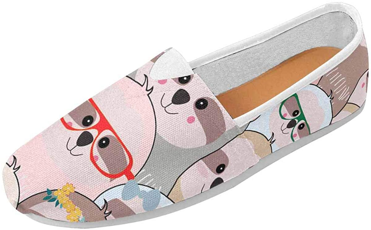 INTERESTPRINT a Funny Lovely Sloth Women's Loafers Casual Slip On Flats