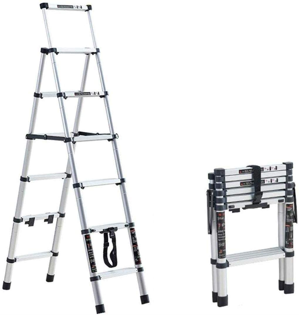 LADDERS Folding Ladder Telescopic Aa-Frame for Home and Kitchen Multi Purpose Portable Extension Engineering Ladder 330 Pound Load Capacity (Size, 5 Steps),6 Steps