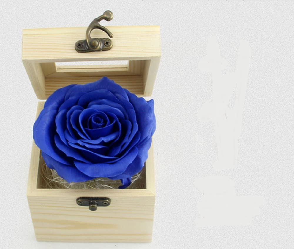 Hand-Carved Soap Flower - Colorful Rose in Wooden Box Perfect Gift for Birthday, Mother's Day And Valentine's Day (Blue)