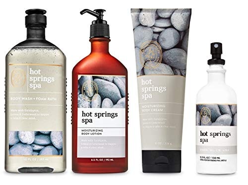 Bath and Body Works Aromatherapy NEW HOT SPRINGS SPA Gift Set - Body Lotion 6.5 oz, Body Wash Foam Bath 10 oz, Essential Oil Mist 5.3 oz & Body cream 8 oz - Bath & Body Set