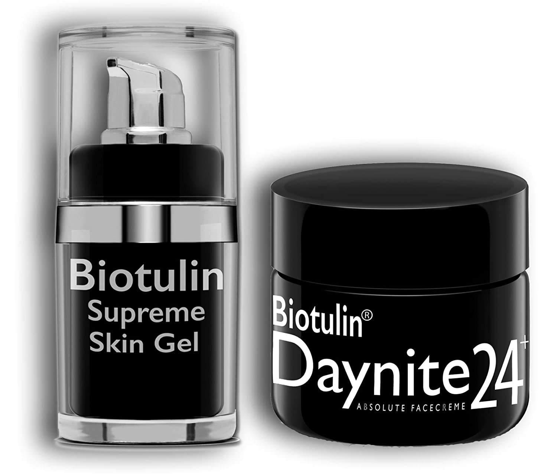 Biotulin Gift Box - Supreme Skin Gel Facial Lotion Reduces Wrinkles Anti Aging Treatment - 15 ml, Daynite24+ Absolute Face Cream 50ml Day & Night Hyaluronic Acid Rapid Wrinkle Repair
