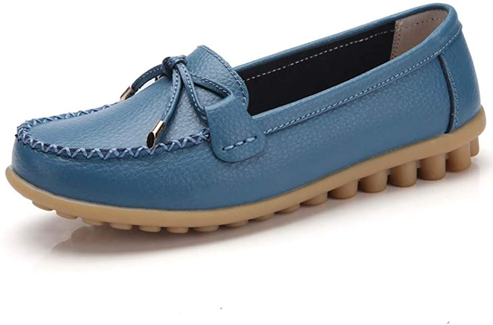 Ladies Split Leather Shoes Bowknot Loafers Round Toe Ballerina Flats Slip On Comfortable Moccasins Women