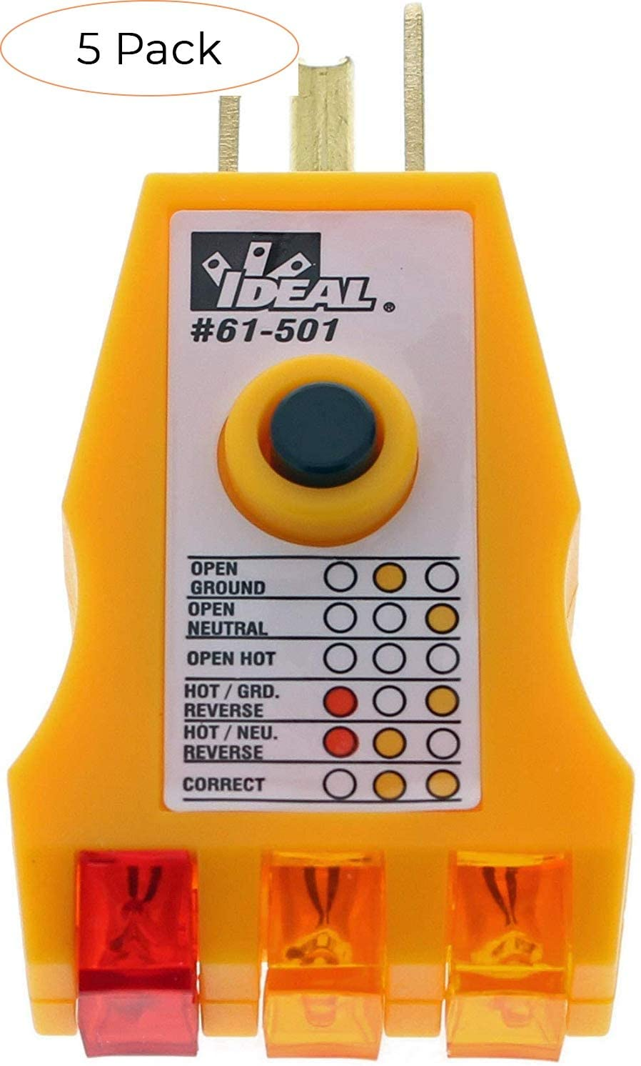 IDEAL INDUSTRIES INC. 61-501 Receptacle Tester with GFCI (Pack 5)