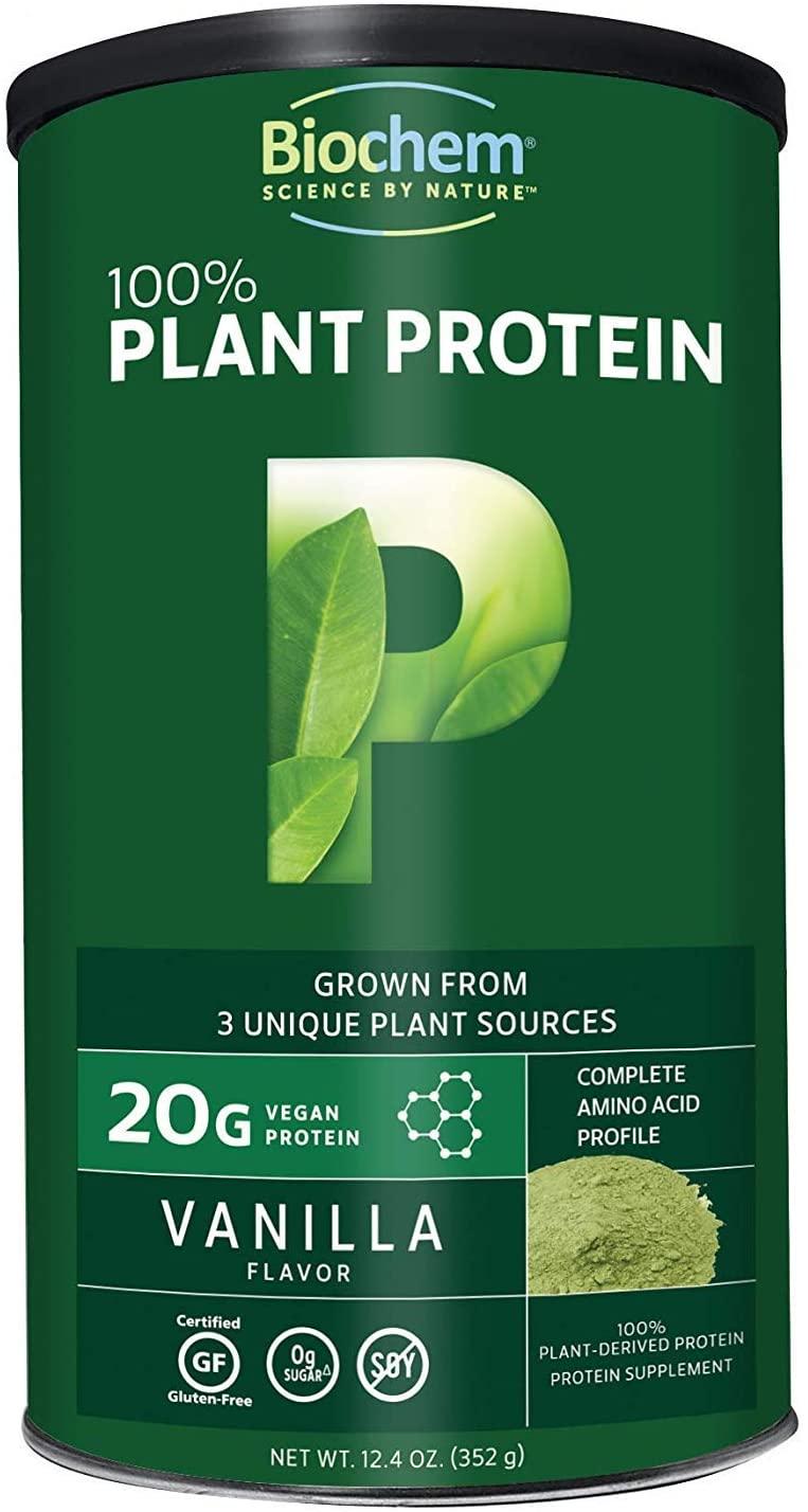 Biochem 100% Plant Protein - Vanilla - 12.4 oz - 20g Vegan Protein - Complete Amino Acid Profile - Keto-Friendly - Calcium - Iron - Non-GMO - Meal Replacement - No Added Sugar