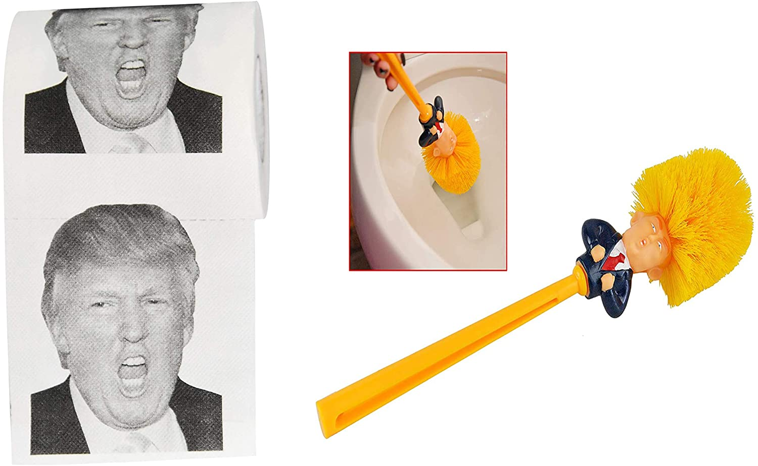 HOME-X Donald Trump Yelling Toilet Paper Roll & Toilet Brush Cleaner with Orange Handle, Funny Toilet Scrubber, Commander in Crap, Funny Political Novelty Gift, Secret Santa Gift