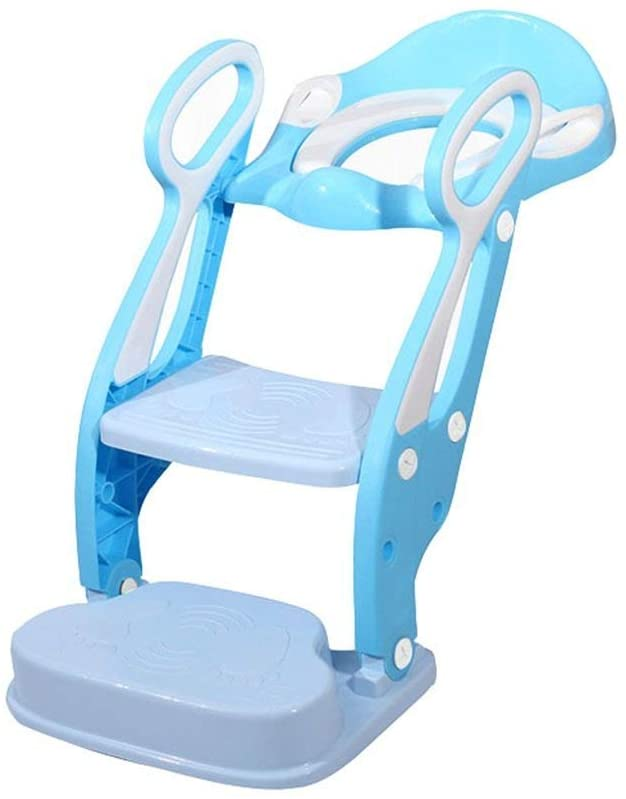 XQY Medical Bedside Commodes,Baby Toddler Toilet Seat Blue Soft and Comfortable Baby Potty Chair Suitable for 1-7 Years Old Boys and Girls Toilet Ladder Foldable Toddler Child Toilet Training Max.75K