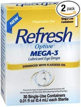 Refresh Optive Mega-3 Lubricant Eye Drops with Flaxseed Oil - 30 ct