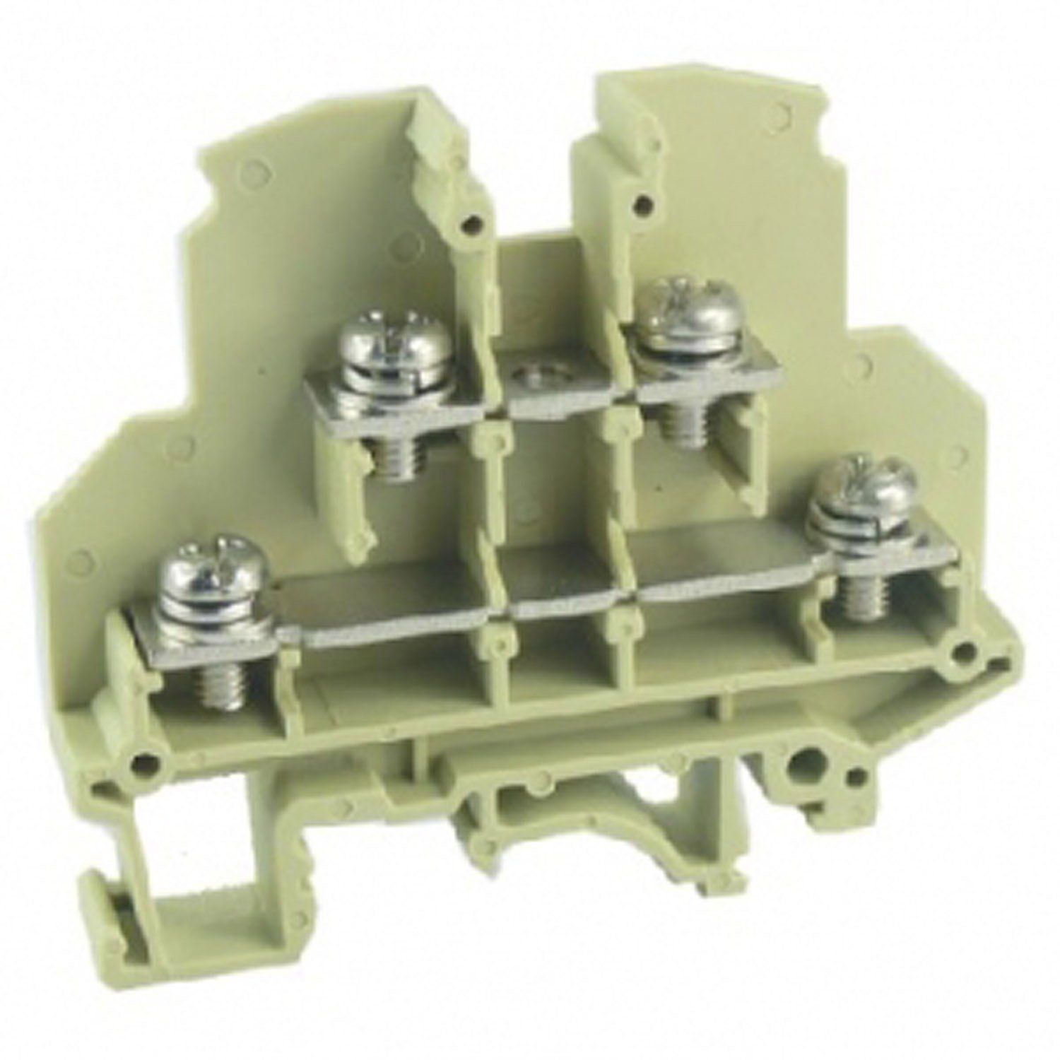 ASI ASI271014 Ring Lug DIN Rail Mounted Terminal Block, Double-Level, 9.2 mm Wide, 20 to 10 AWG, 30 Amp, 600V (Pack of 60)
