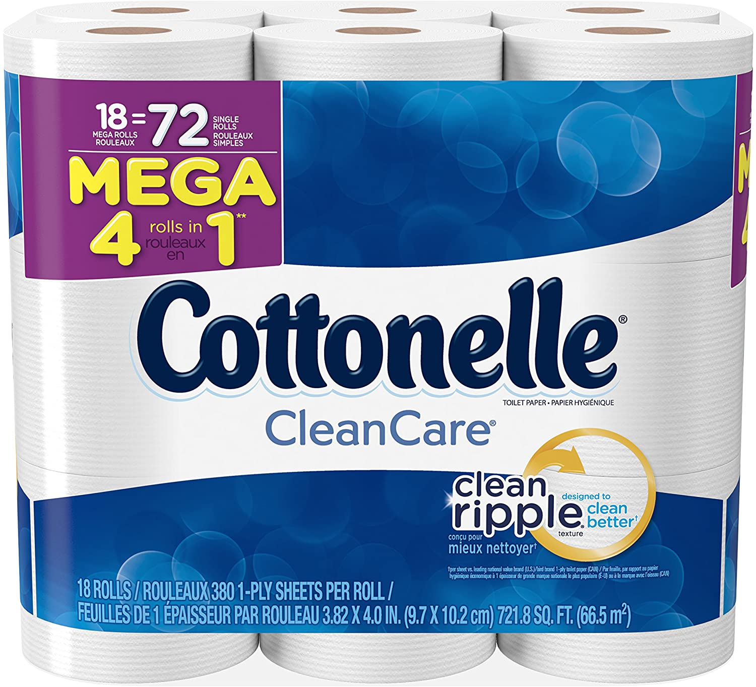 Cottonelle Clean Care Mega Roll Bath Tissue, 18 Count