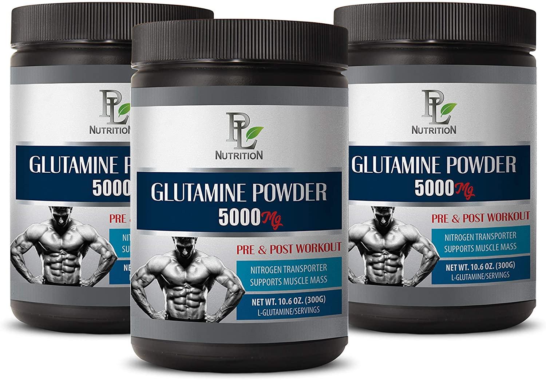 pre Workout no creatine - L-GLUTAMINE Powder 5000 MG - PRE & Post Workout - glutamine Supplements Powder - 3 Cans 900 Grams