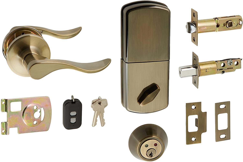 MiLocks WFL-02AQ Digital Deadbolt Door Lock and Passage Lever Handle Combo with Keyless Entry via Remote Control for Exterior Doors, Antique Brass