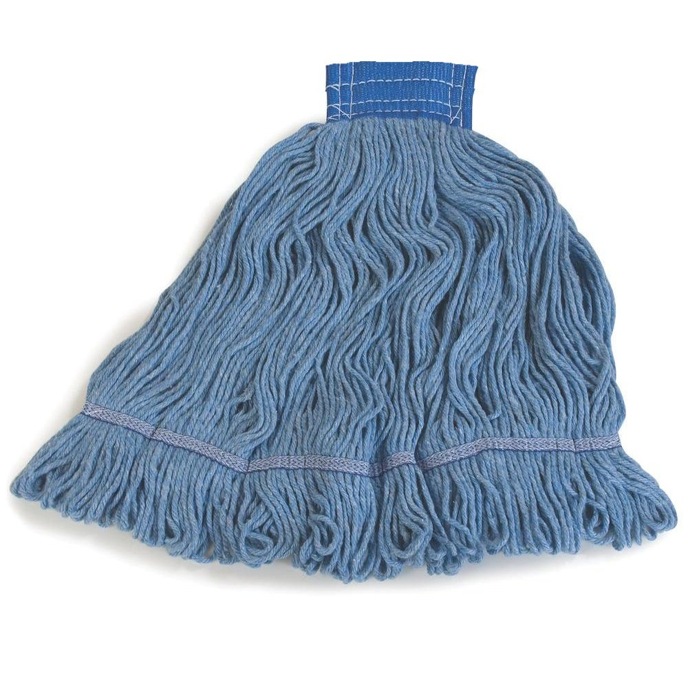 HUB City Industries 5552282 Blue Citation Rayon/Synthetic Blend Pro-Line Loop Mops, Wide Band, X-Large
