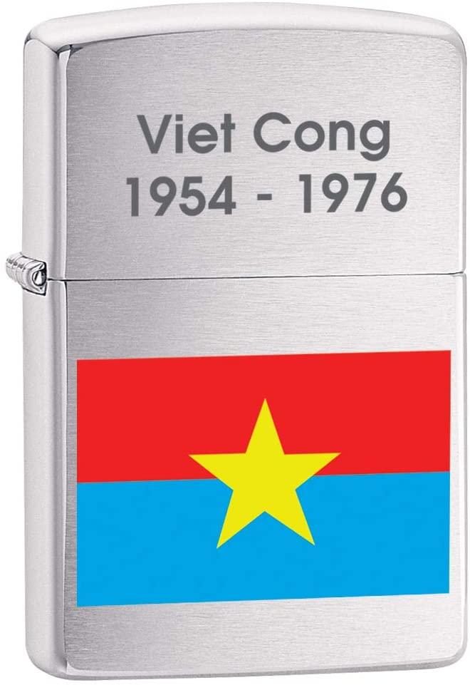 Zippo Lighter: Vietnam, Viet Cong Flag - Brushed Chrome 79842