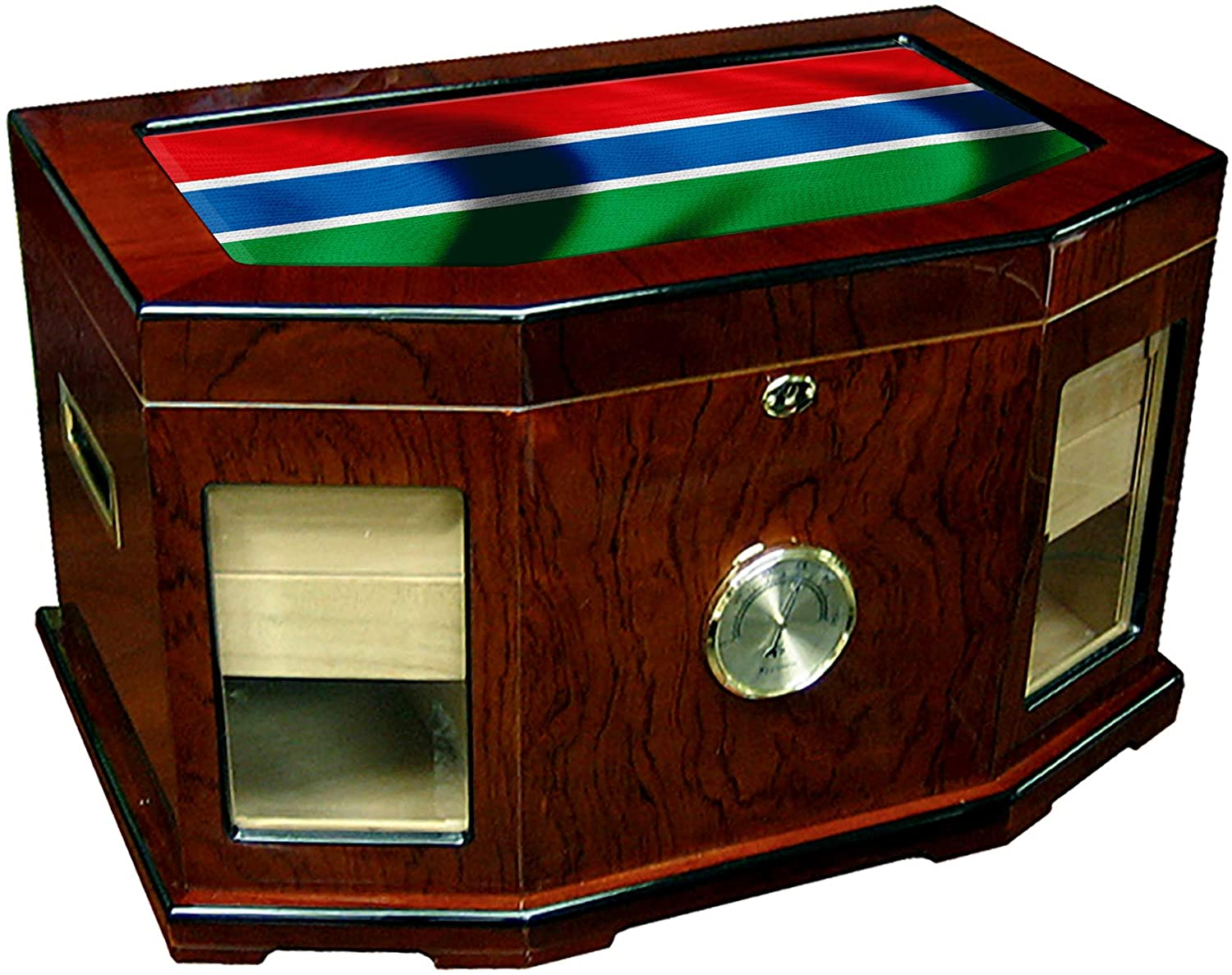 Large Premium Desktop Humidor - Glass Top - Flag of Gambia (Gambian) - Waves Design - 300 Cigar Capacity - Cedar Lined with Two humidifiers & Large Front Mounted Hygrometer.