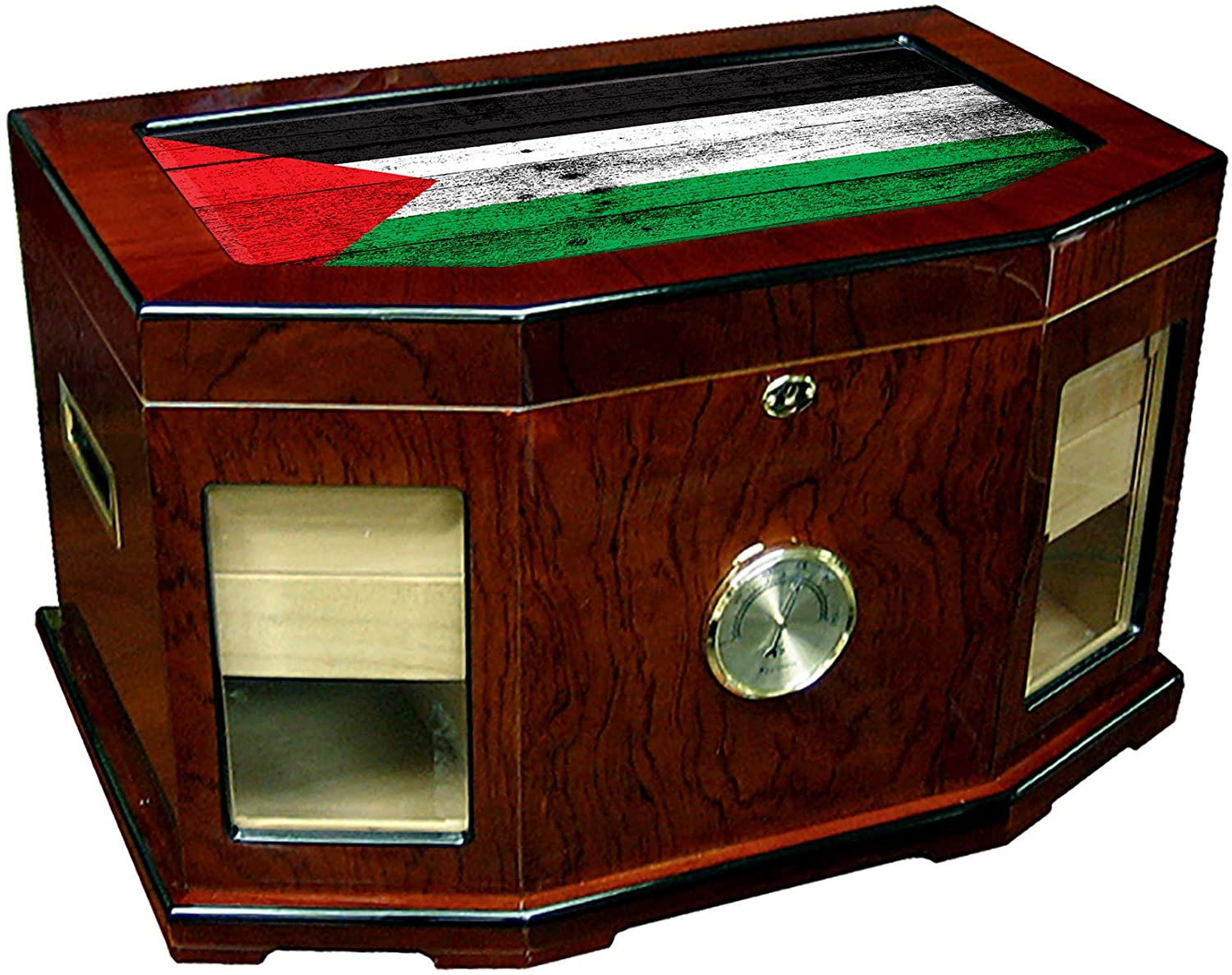 Large Premium Desktop Humidor - Glass Top - Flag of Palestine (Palestinian) - Wood Design - 300 Cigar Capacity - Cedar Lined with Two humidifiers & Large Front Mounted Hygrometer.