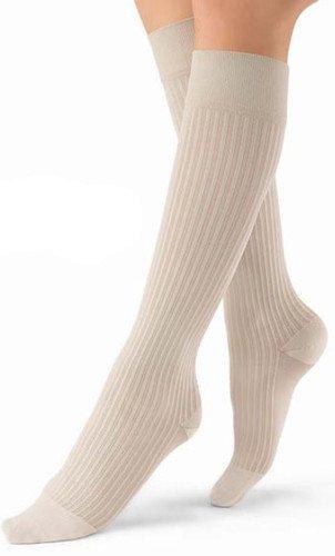 BSN Medical 120238 Jobst soSoft Compression Stocking, Knee High, 8-15 mmHg, Brocade, Closed Toe, Black, Medium