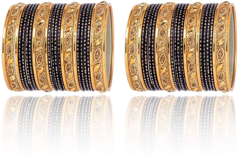 Sanara Indian Bollywood 18k Gold Plated Sparkle Wedding Style Bridal 48 pcs Bangle Bracelet Set Traditional Jewelry
