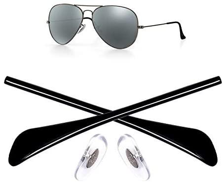 HEYDEFO Replacement Temple Tips Nose Pads for Ray-Ban Aviator RB3025 3026 Sunglasses Repair Kits (Black),Bonus Sunglasses Bag
