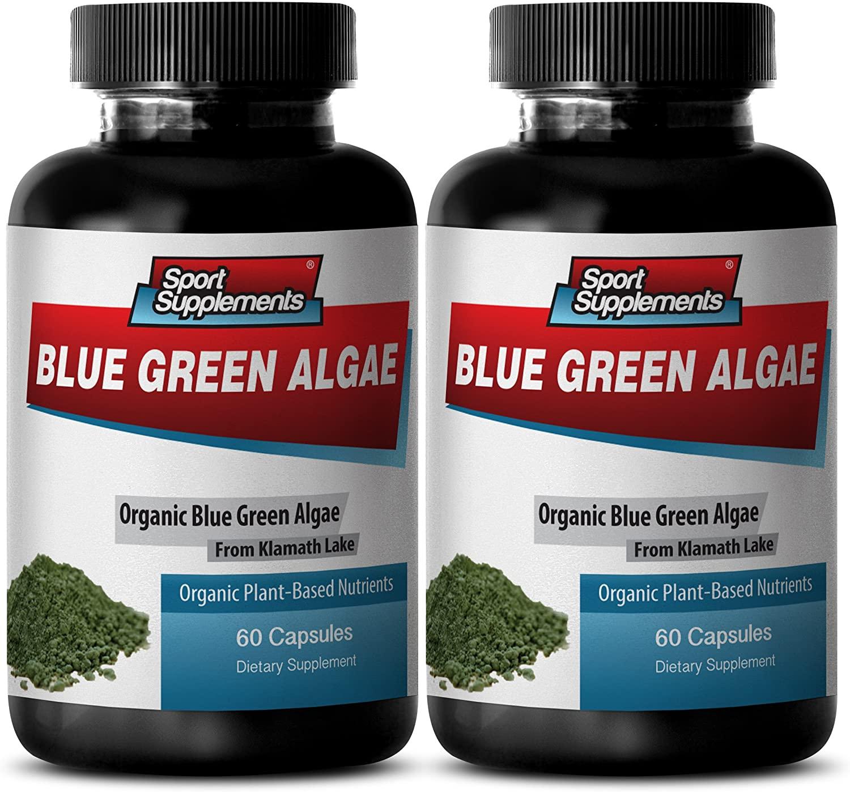 Cholesterol Care - Blue Green Algae - Natural NUTRIENTS - from Klamath Lake - spirulina Powder Organic - 2 Bottles (120 Capsules)