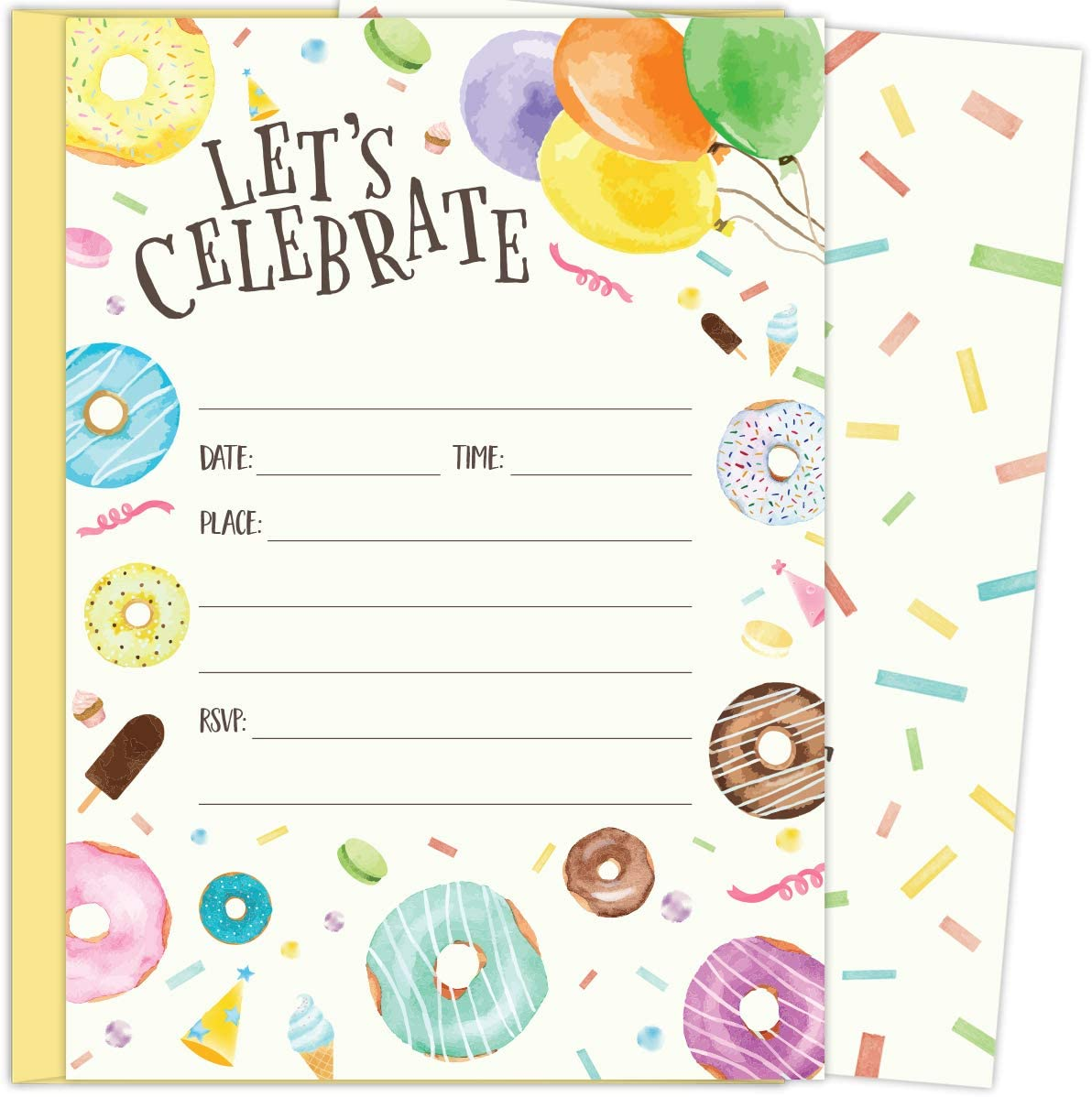 Koko Paper Co Donut and Balloon Invitations. Set of 25 5x7 Fill-in Invitations with Yellow Envelopes. Perfect for Birthday Parties or Other Events.