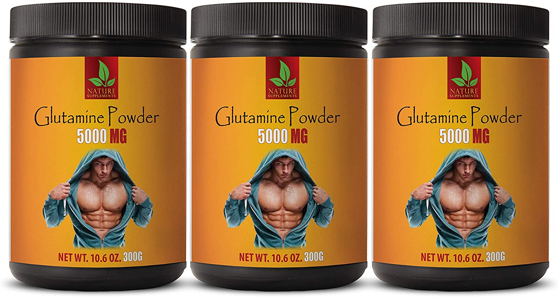 Post Workout Muscle Builder - GLUTAMINE 5000MG Powder - glutamine Dietary Supplement - 3 Cans 900 Grams