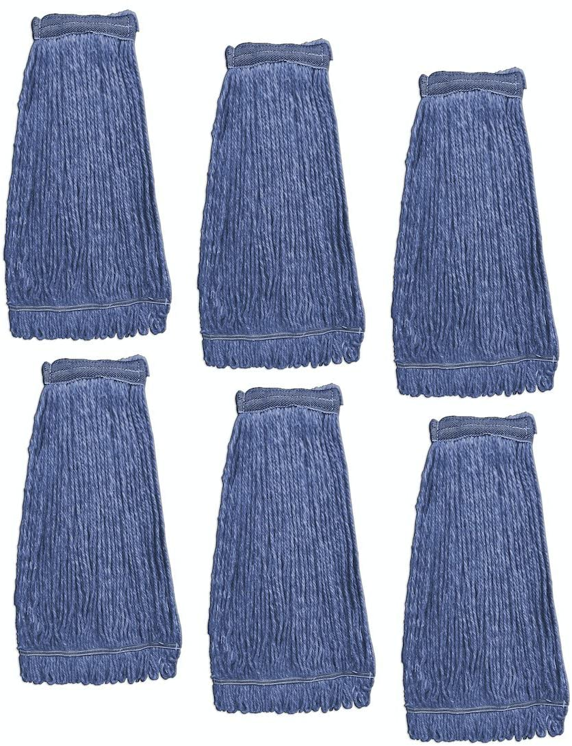 KLEEN HANDLER Heavy Duty Commercial Mop Head Replacement | Wet Industrial Blue Cotton Looped End String Cleaning Mop Head Refill (Pack of 6)