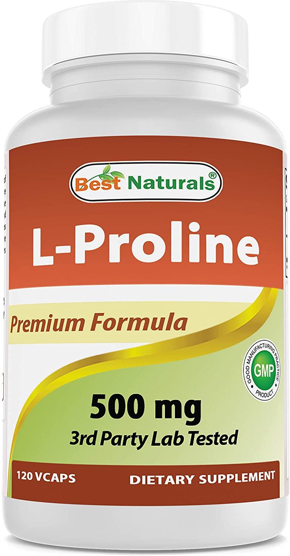 Best Naturals L-proline Amino Acid Dietary Supplement 500 Mg, 120 Count (817716014456)