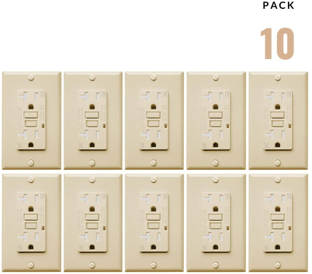 10 Pack, Ivory, 20A GFCI Tamper Resistant, TR Safety Oulet Receptacle, White, Free with Screws Wallplate Included