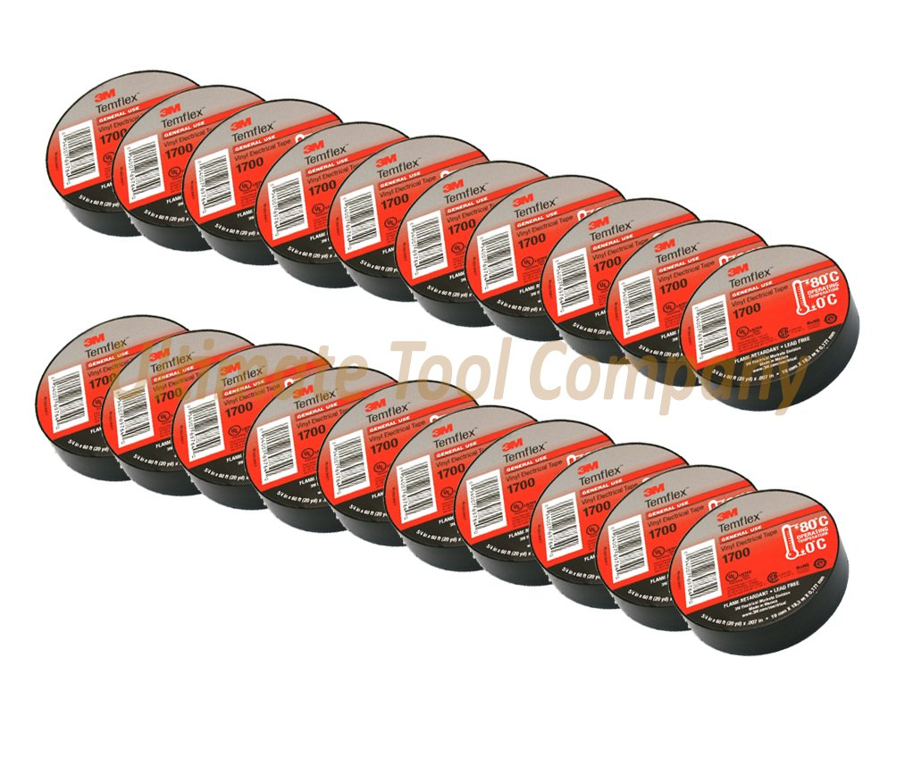 20pc 3M Electrical Tape Temflex 60ft Rolls | 20-Pack Professional Vinyl Tape 60 Feet per Roll