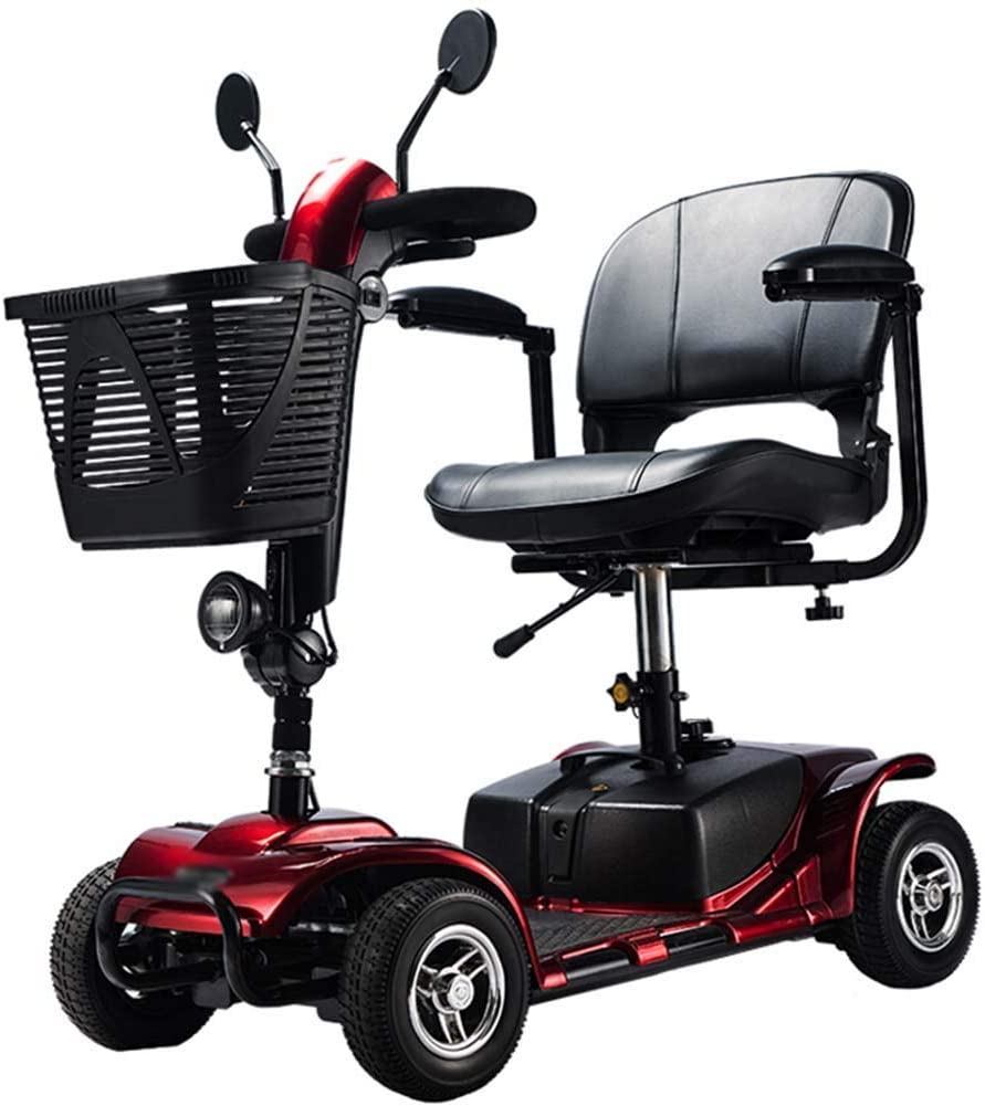 BXZ Light and Compact, Foldable,4 Wheel Power Electric Travel and Mobility Scooter,43Cm Wide Seat,Openable Handrail,Electromagnetic Brake,Rotatable Seat