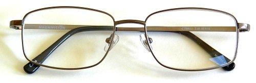 (+ BONUS) Magnivision +1.25 TITANIUM (T10) Rectangular Gunmetal Wire Rim Reading Glasses...+ FREE BONUS MICRO-SUEDE CLEANING CLOTH
