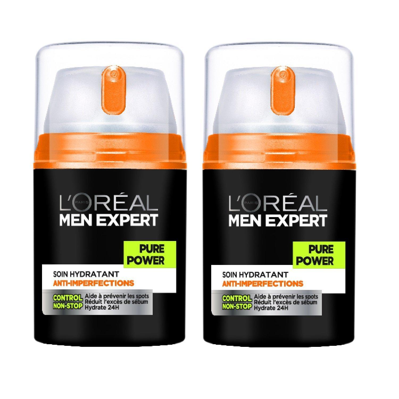 L'Oréal Men Expert Pure Power Soin Visage Homme Anti-Imperfections Peau Grasse - Pack of 2