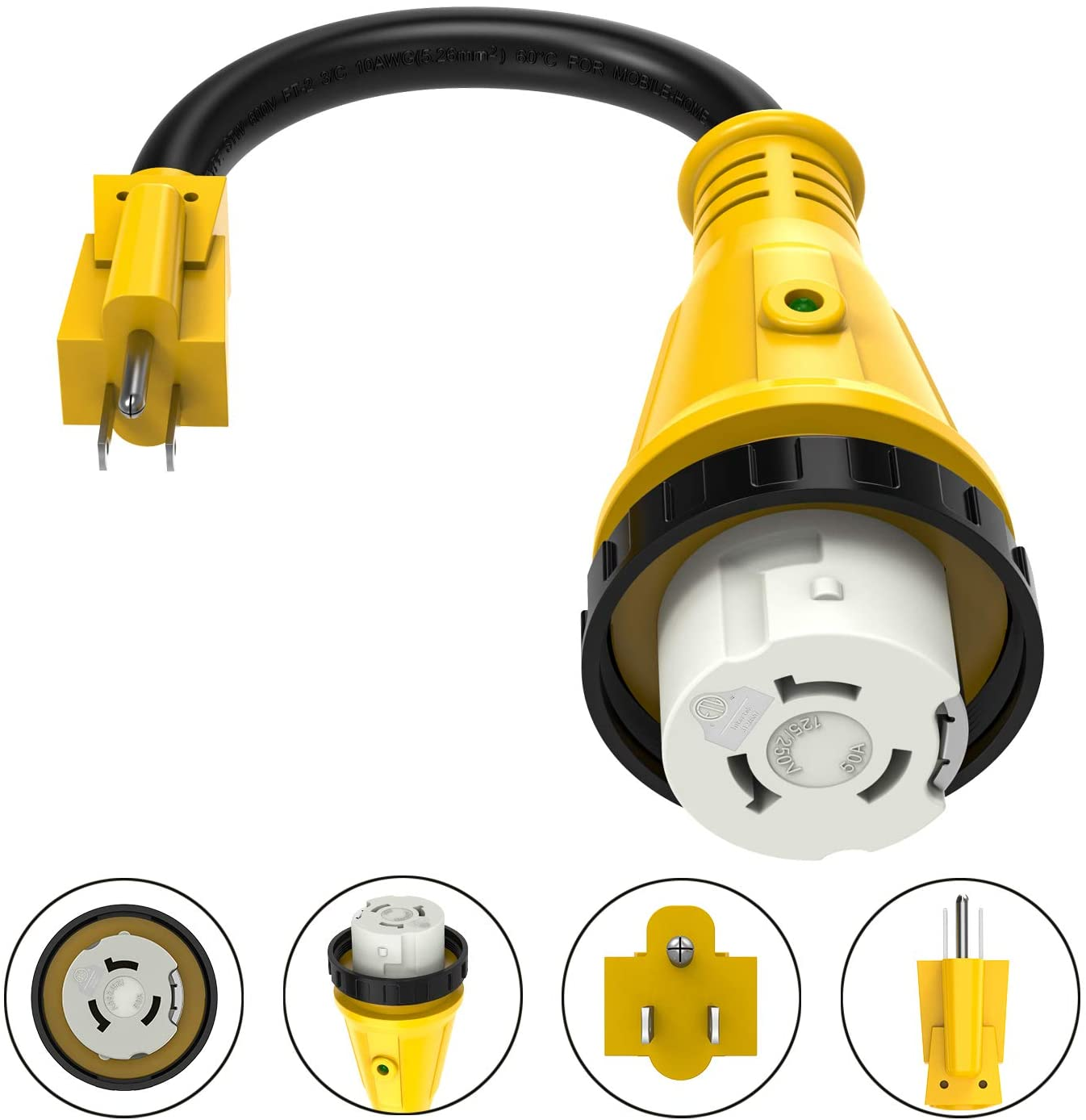 Kohree 15 Amp to 50 Amp RV Power Cord Plug Adapter Dogbone Heavy Duty Electrical Power Adapter with Twist Lock, LED Indicator, 15M/50F