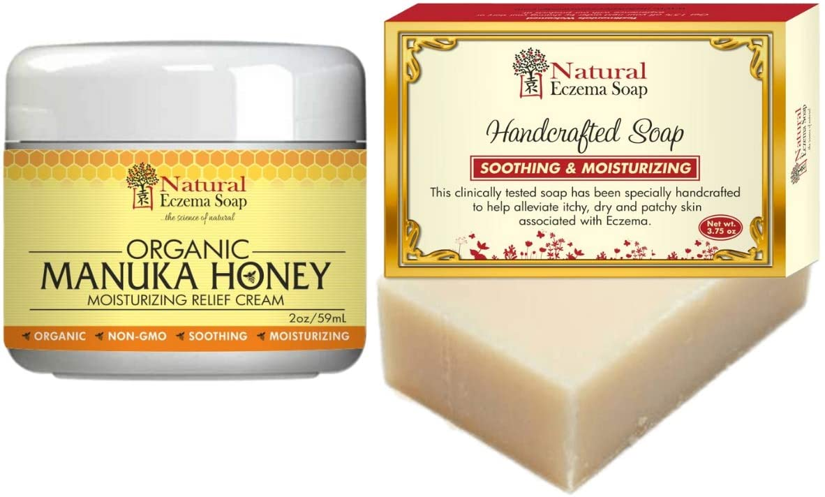 Natural Eczema Soap with Organic Manuka Skin Soothing Cream for Eczema, Psoriasis, Dermatitis, Rosacea | Gentle Moisturizing & Soothing Manuka Eczema Honey for Dry Itchy Skin